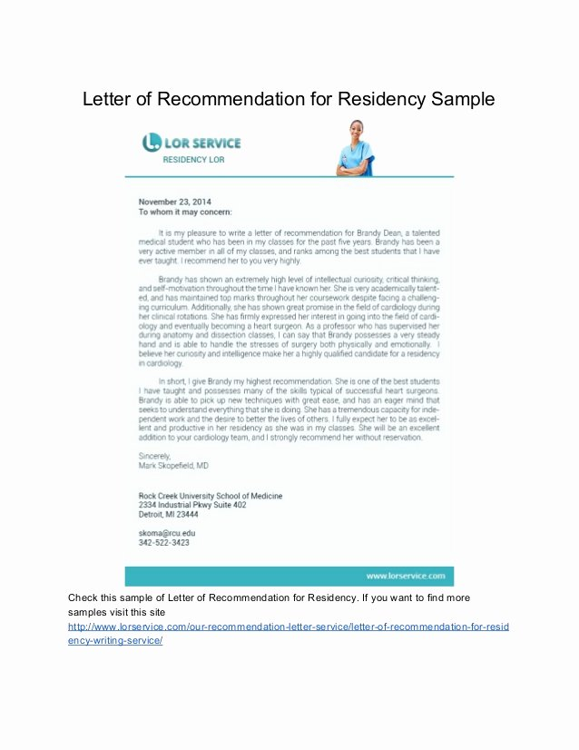 Residency Letter Of Recommendation Samples Elegant Samples Of Letter Of Re Mendation