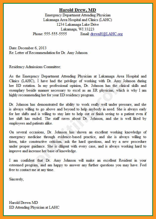 Residency Letter Of Recommendation Samples Inspirational Re Mendation Letter for Residency