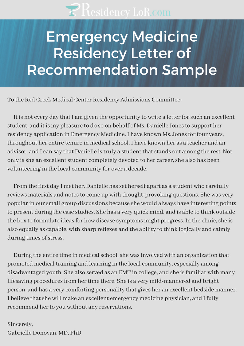 Residency Letter Of Recommendation Samples New Emergency Medicine Residency Letter Of Re Mendation Sample