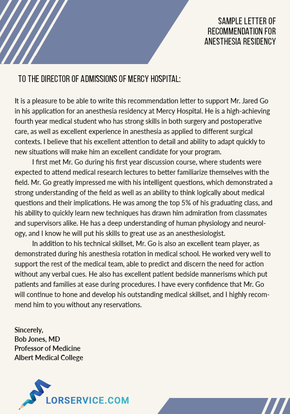 Residency Recommendation Letter Sample Awesome Anesthesiology Residency Letter Of Re Mendation Sample