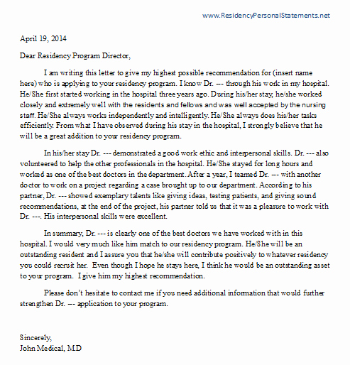 Residency Recommendation Letter Sample Elegant Letter Of Re Mendation for Residency Writing Service