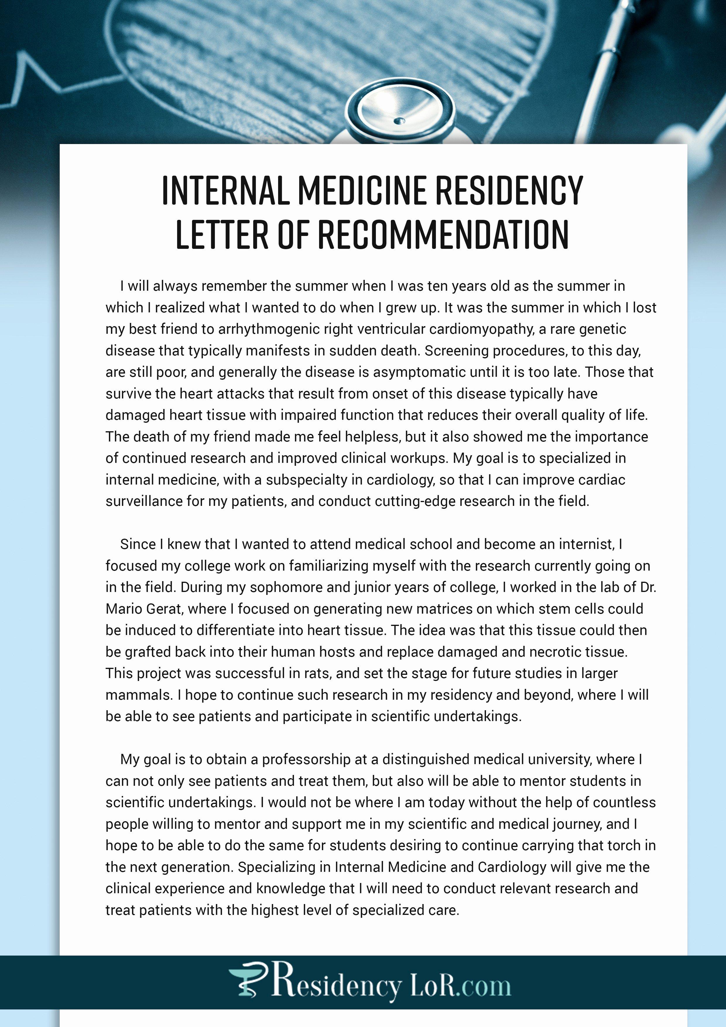 Residency Recommendation Letter Sample Elegant Re Mendation Letter Sample for Medical Residency New