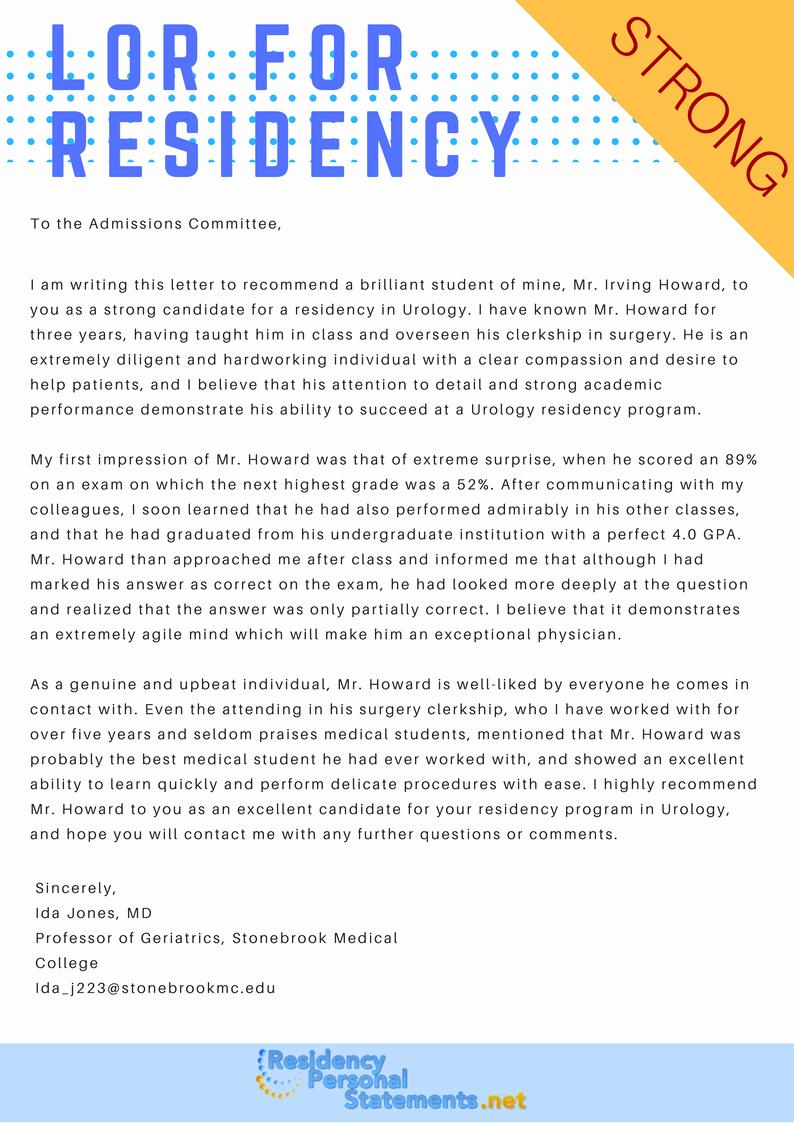Residency Recommendation Letter Sample Fresh Sample Letter Of Re Mendation for Residency