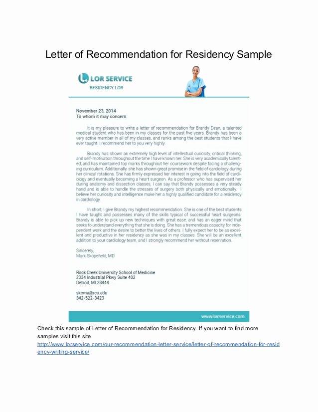 Residency Recommendation Letter Sample Inspirational Samples Of Letter Of Re Mendation