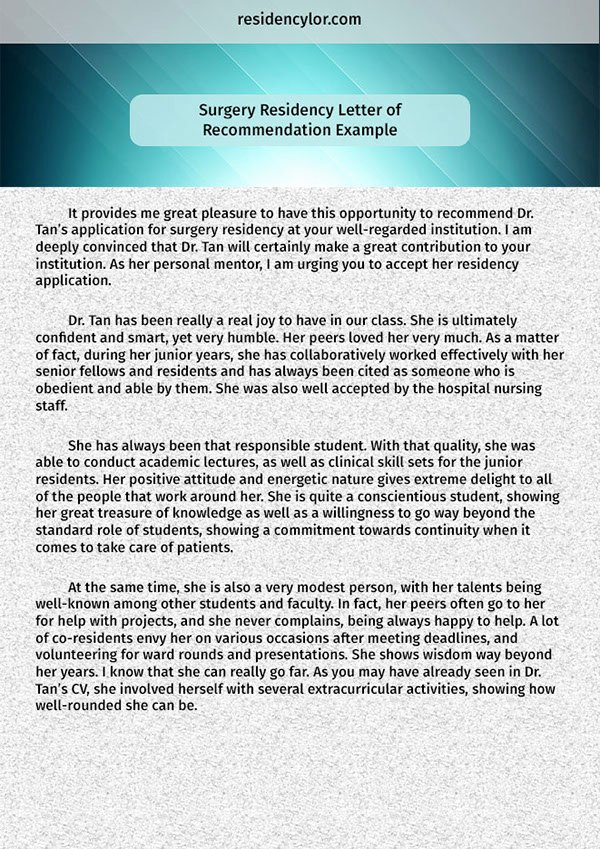Residency Recommendation Letter Sample Inspirational Surgery Residency Letter Of Re Mendation Example On