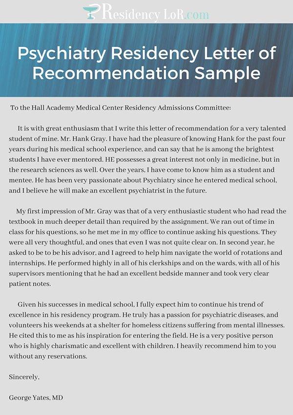 Residency Recommendation Letter Sample Lovely Psychiatry Residency Letter Of Re Mendation Sample On