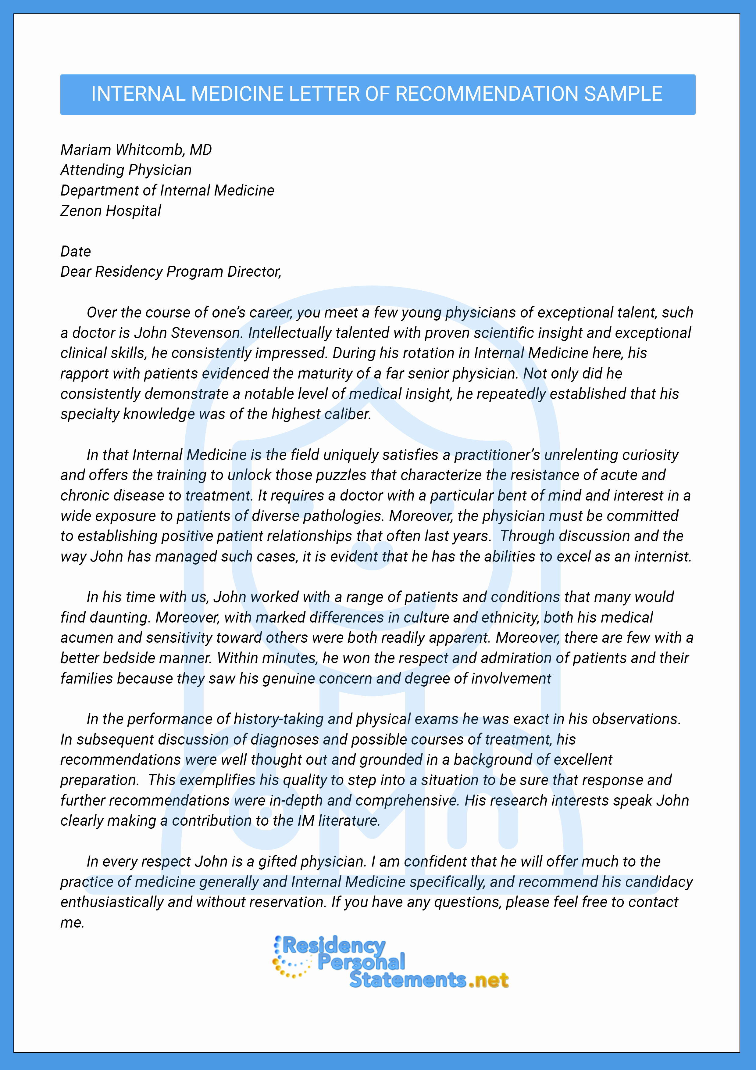 Residency Recommendation Letter Sample Luxury Letter Of Re Mendation for Internal Medicine Residency