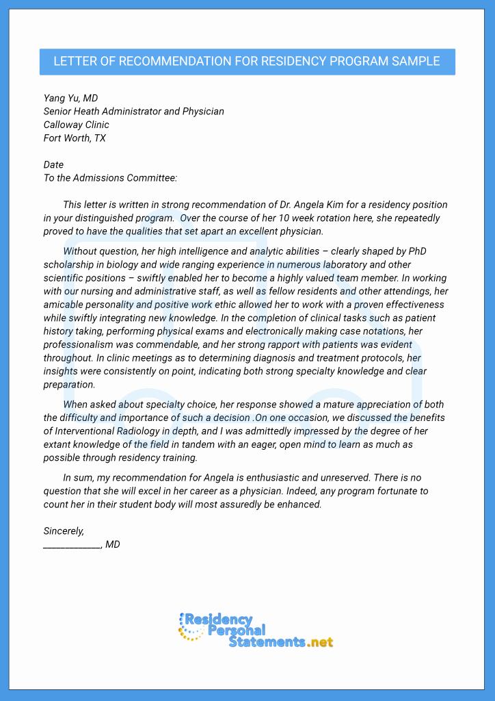Residency Recommendation Letter Sample New Professional Letter Of Re Mendation for Residency