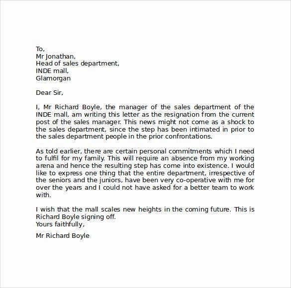 Resignation Letter format Pdf Awesome Sample Resignation Letter format 9 Download Free