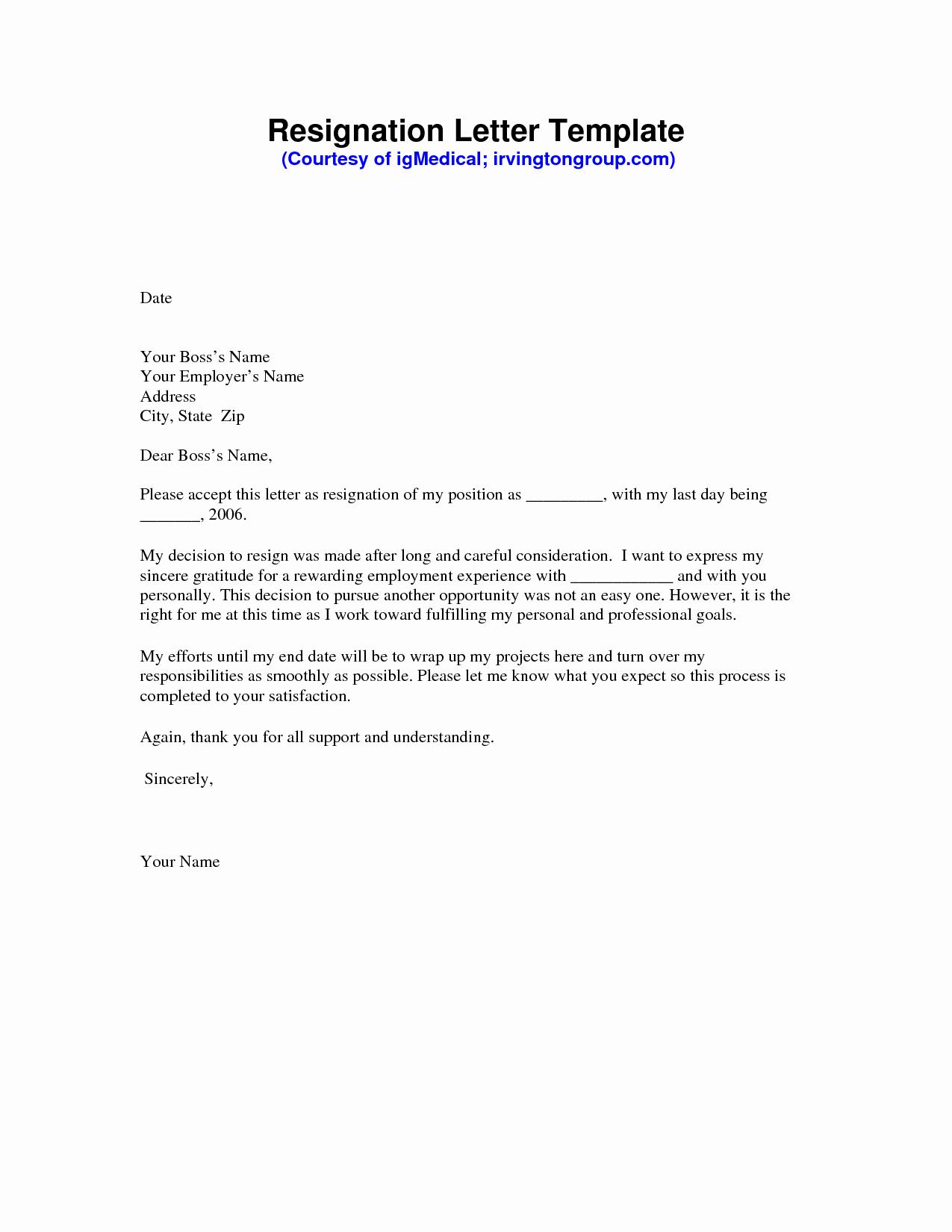 Resignation Letter format Pdf Elegant Resignation Letter Sample Pdf