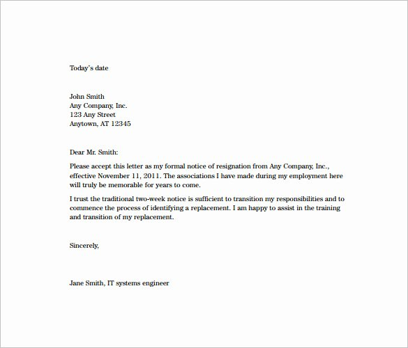 Resignation Letter format Pdf Inspirational 10 Sample Two Week Notice Resignation Letter Templates