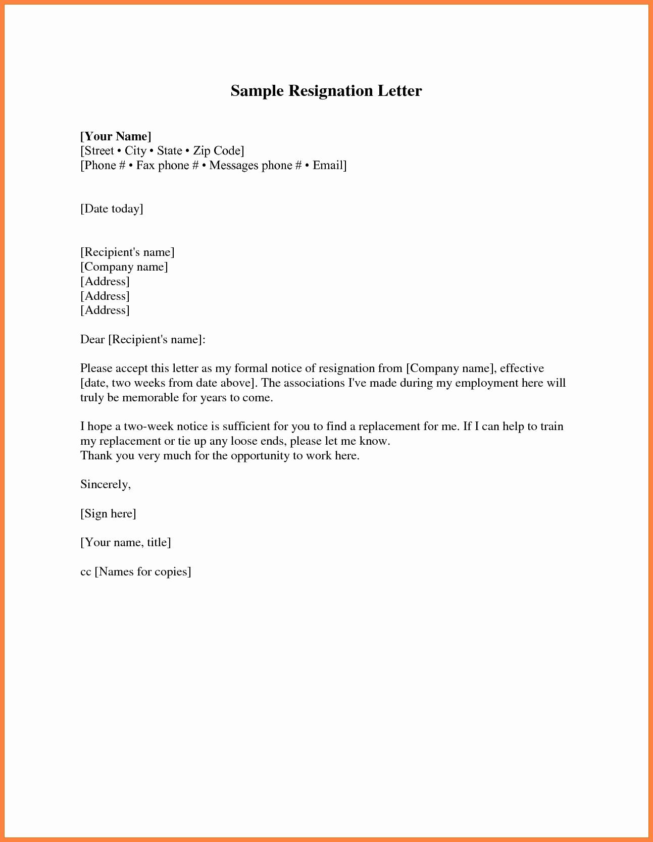 Resignation Letter format Pdf Inspirational 9 Resignation Letter 2 Week Notice Pdf