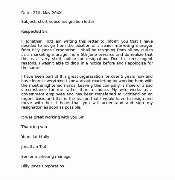 Resignation Letter format Pdf Lovely Sample Resignation Letter format 9 Download Free