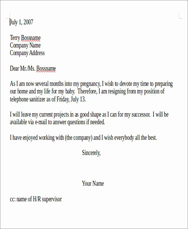 Resignation Letter format Pdf New 5 Pregnancy Resignation Letter Samples Examples Templates