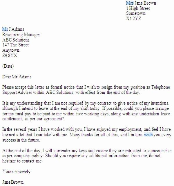Resignation Letter format Pdf Unique No Notice Resignation Letter Examples Pdf