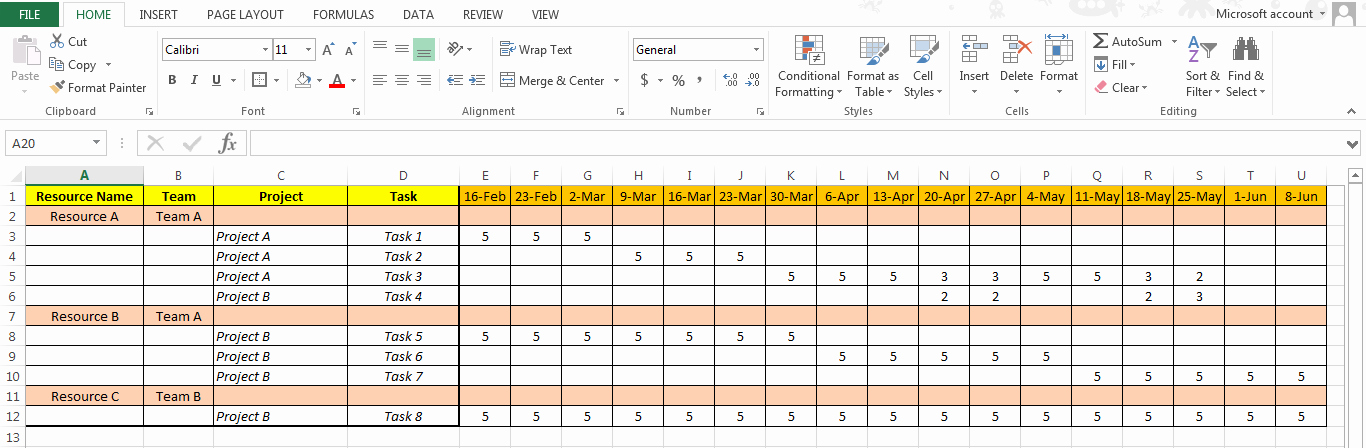 Resource Capacity Plan Template Elegant Excel Based Resource Plan Template Free Free Project