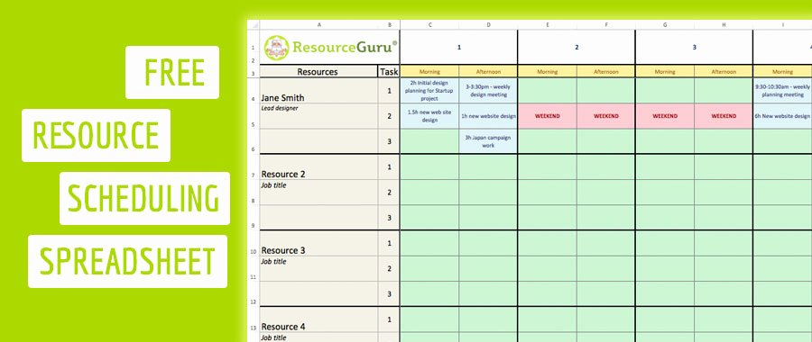 Resource Plan Template Excel Fresh Free Resource Scheduling Template for Excel