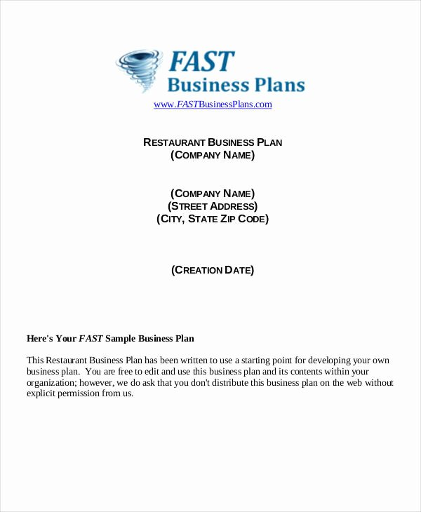 Restaurant Business Plan Template Awesome 41 Plan Samples & Templates