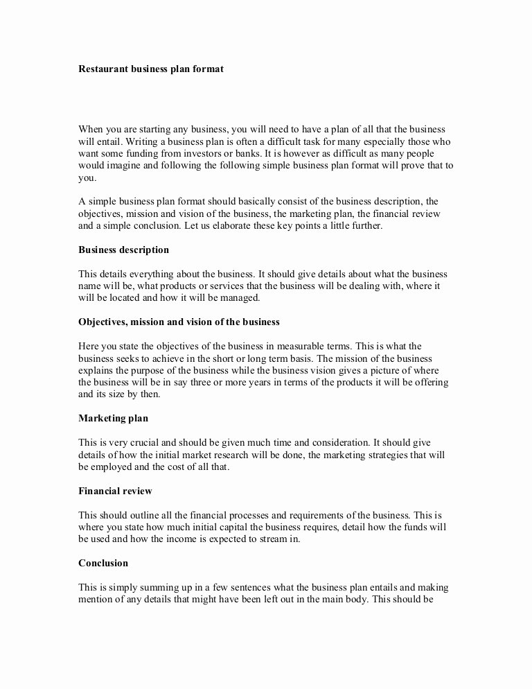 Restaurant Business Plan Template Awesome Restaurant Business Plan format