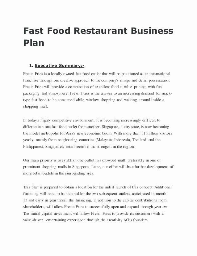 Restaurant Business Plan Template Fresh Fast Food Restaurant Business Plan