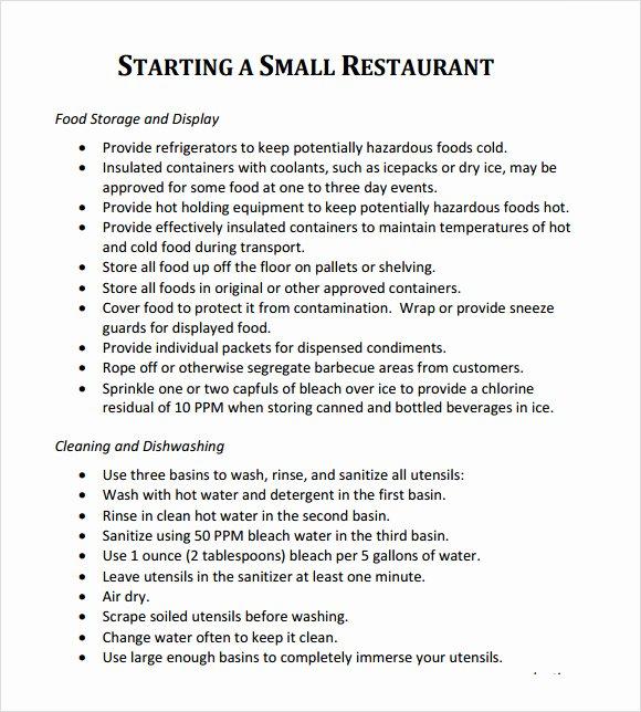 Restaurant Business Plan Template Fresh Restaurant Business Plan Template 7 Download Free