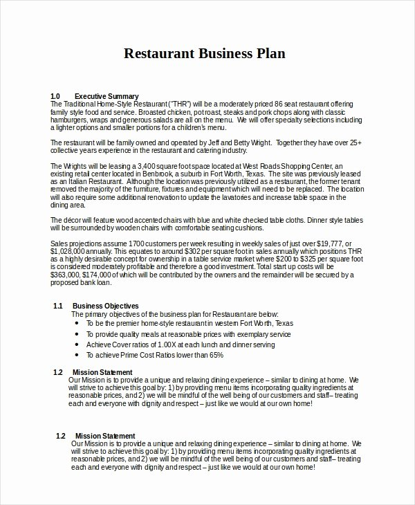 Restaurant Business Plan Template Inspirational 25 Business Plans Free Sample Example format