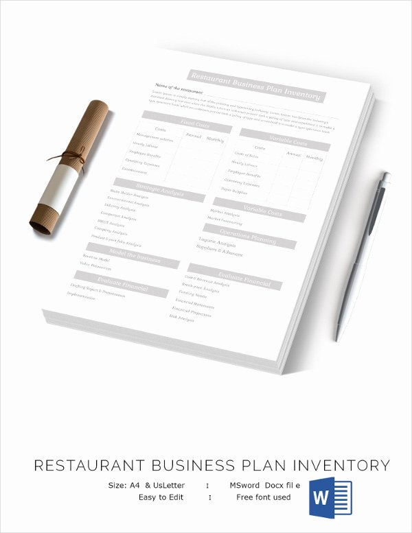 Restaurant Business Plan Template Inspirational Restaurant Inventory Template 28 Free Word Excel