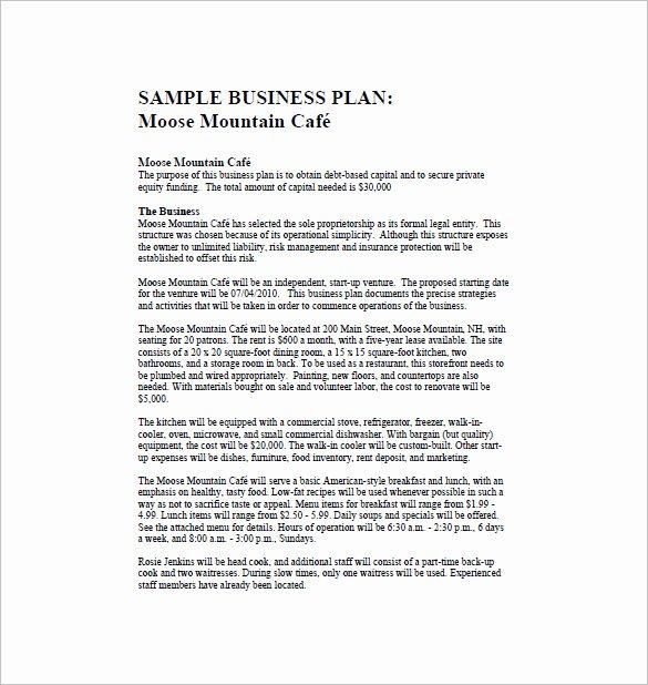 Restaurant Business Plan Template Lovely Restaurant Business Plan Template 16 Word Excel Pdf