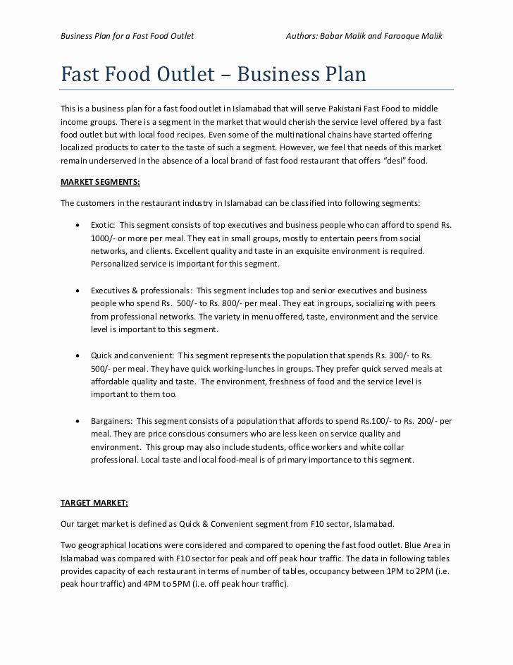 Restaurant Business Plan Template Unique Business Plan Of Fast Food Restaurant