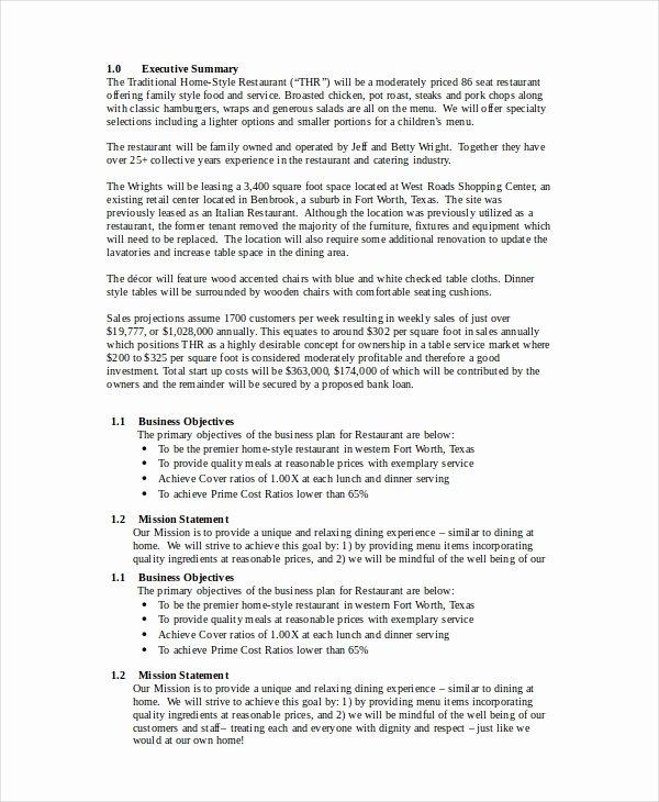 Restaurant Business Plan Template Unique Restaurant Business Plan 16 Pdf Word Google Docs