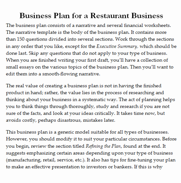 Restaurant Business Plan Template Word Beautiful 32 Free Restaurant Business Plan Templates In Word Excel Pdf