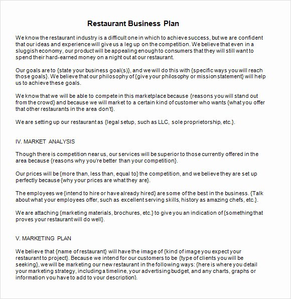 Restaurant Business Plan Template Word New 13 Sample Restaurant Business Plan Templates to Download