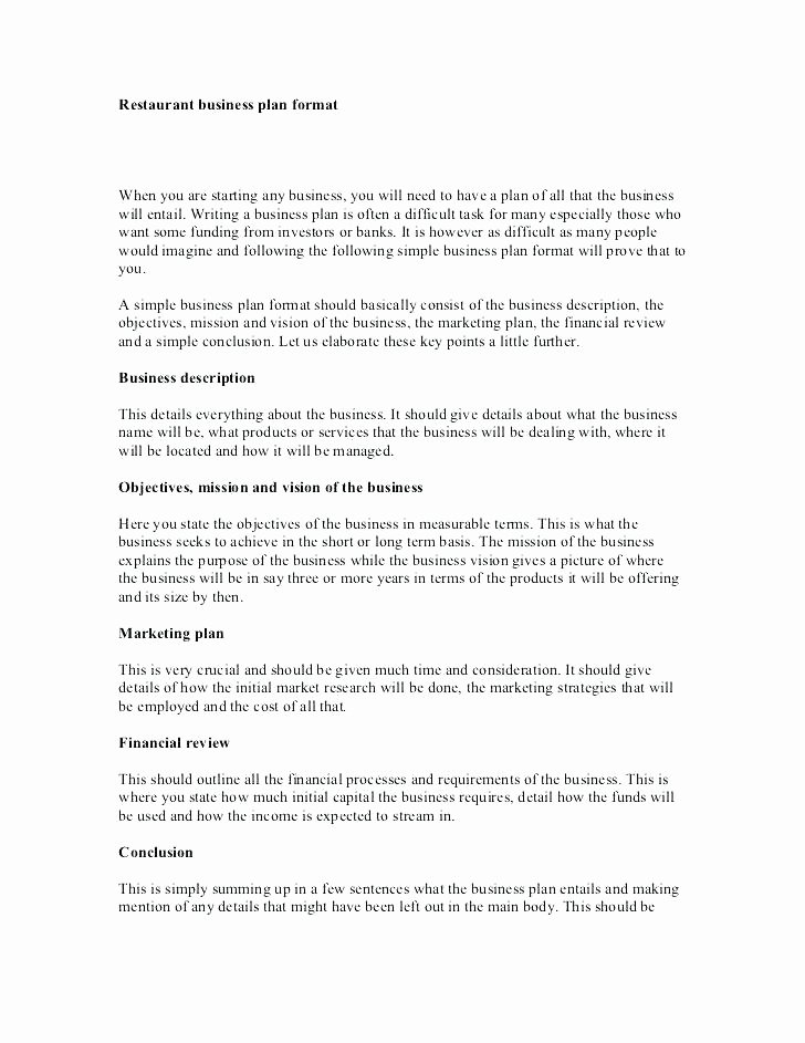 restaurant business plan template word