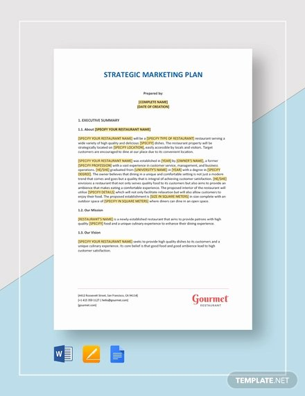 Restaurant Marketing Plan Template Lovely 104 Free Marketing Templates