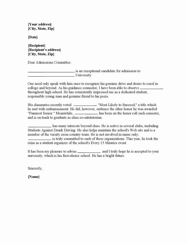 Resume for Letter Of Recommendation Lovely Letter Re Mendation College Application Oshiborifo