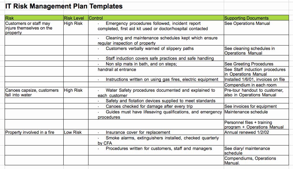 Risk Management Plan Template Beautiful Risk Management Plan Rmp