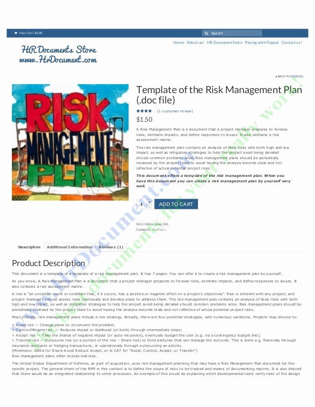 Risk Management Plan Template Doc Awesome Template Of the Risk Management Plan C File Hr