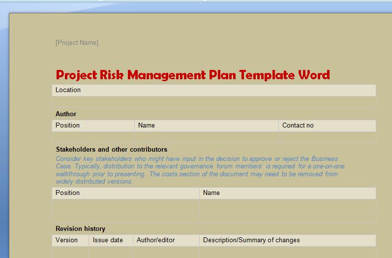Risk Management Plan Template Doc Best Of Project Risk Management Plan Template Word