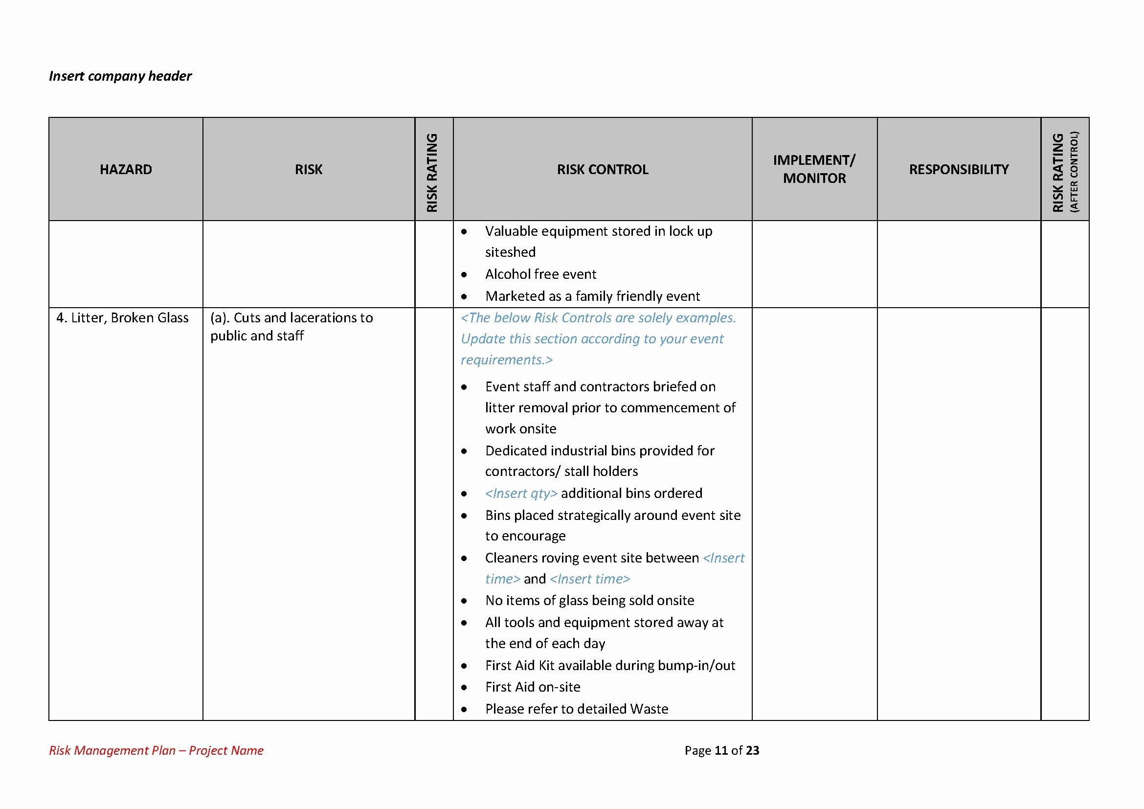 Risk Management Plan Template Doc Unique Risk Management Plan Template Easy to Use