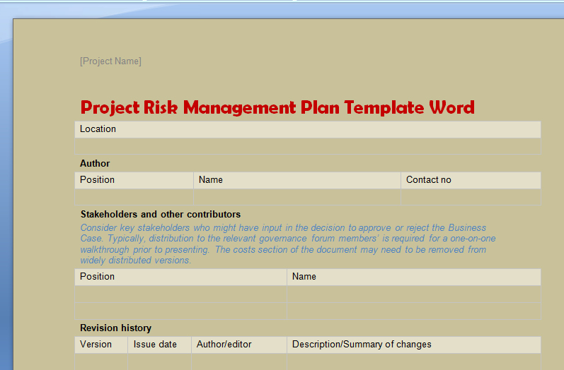 Risk Management Plan Template Lovely Project Risk Management Plan Template Word