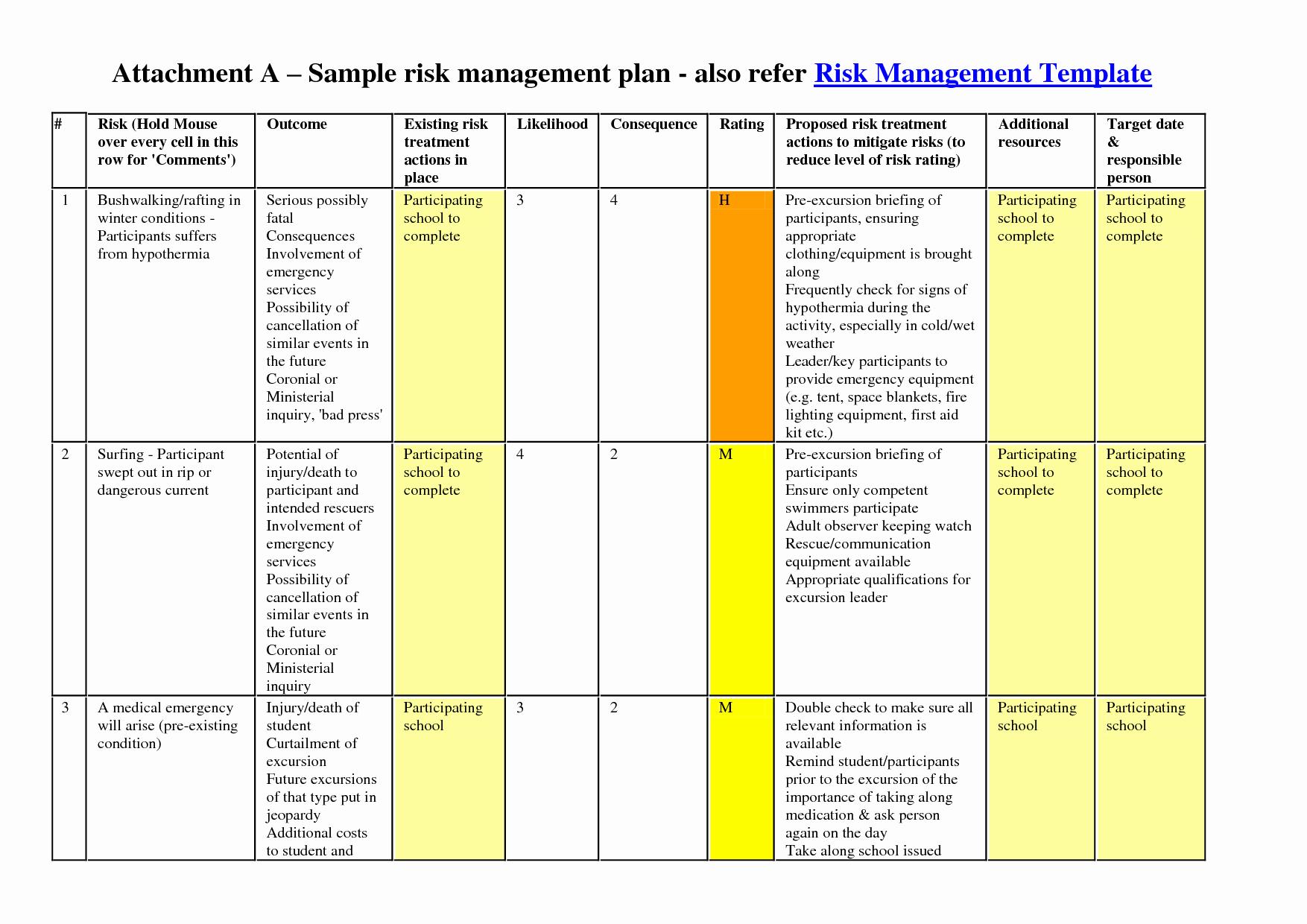 Risk Management Plan Template New Risk Management Plan Template
