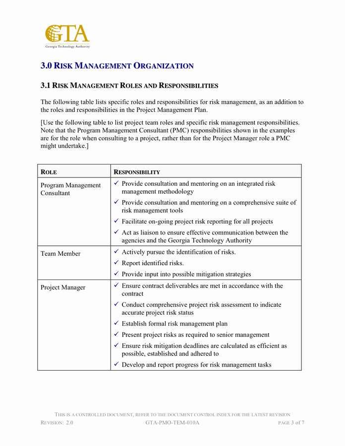 Risk Management Plan Template Pdf Best Of Risk Management Plan Template In Word and Pdf formats