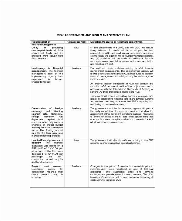 Risk Management Plan Template Pdf Unique 11 Risk Management Plan Templates Free Samples Examples