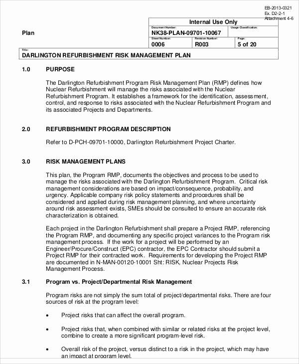 Risk Management Plan Template Unique 8 Program Management Plan Samples