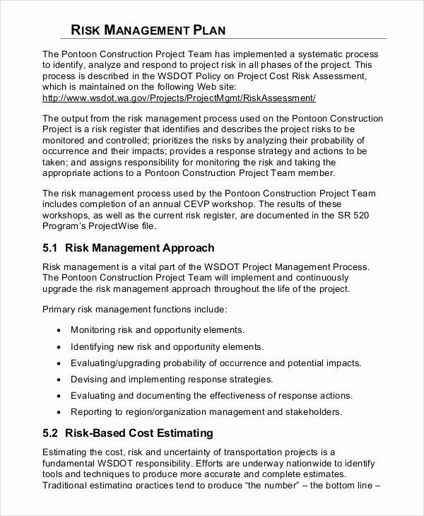 Risk Management Plan Template Unique 8 Sample Risk Management Plans