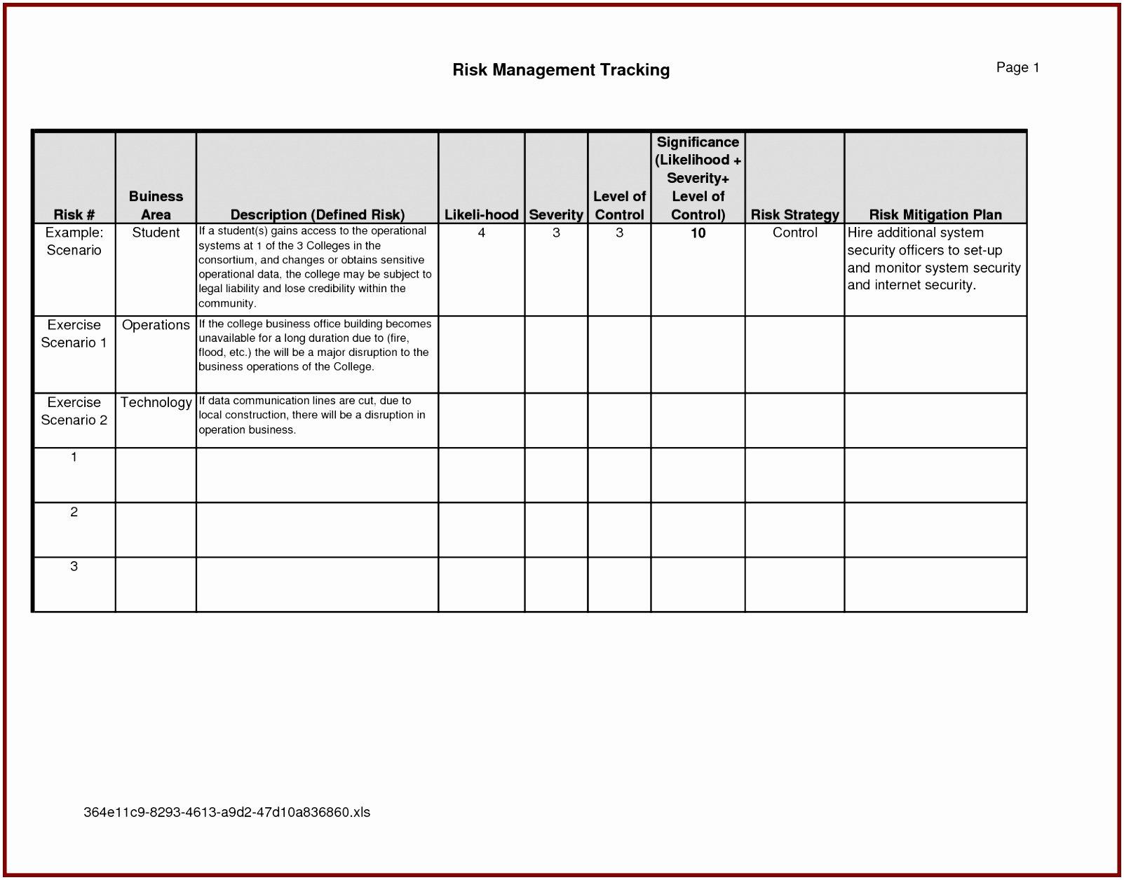 Risk Mitigation Plan Template Elegant 10 Building Risk assessment Template Piuep