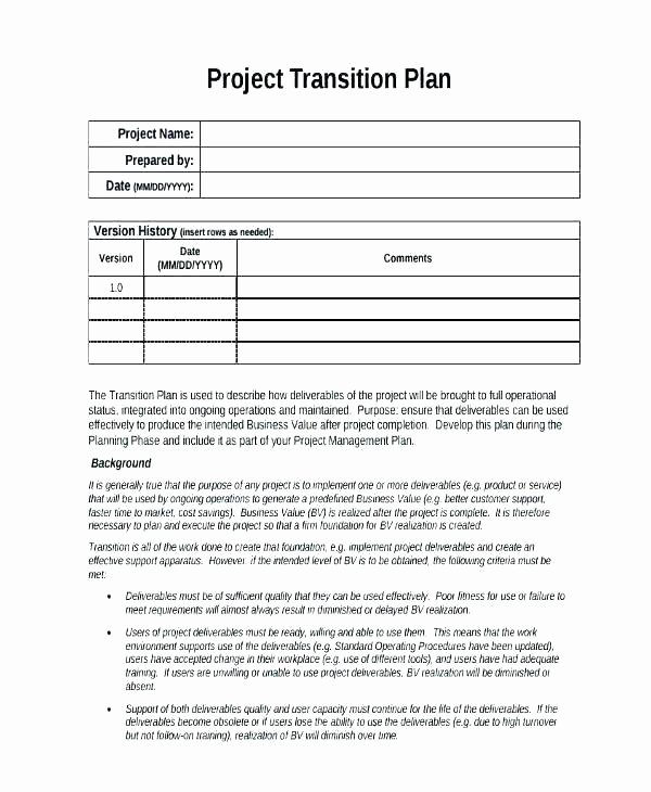 Role Transition Plan Template Luxury Role Transition Plan Template – Ilaps