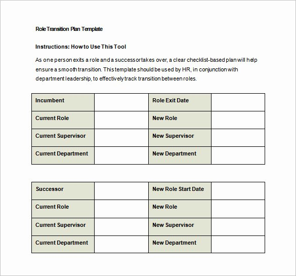 Role Transition Plan Template Luxury Transition Plan Template