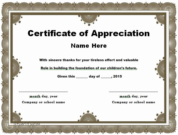 Rotary Certificate Of Appreciation Template Luxury 30 Free Certificate Of Appreciation Templates and Letters