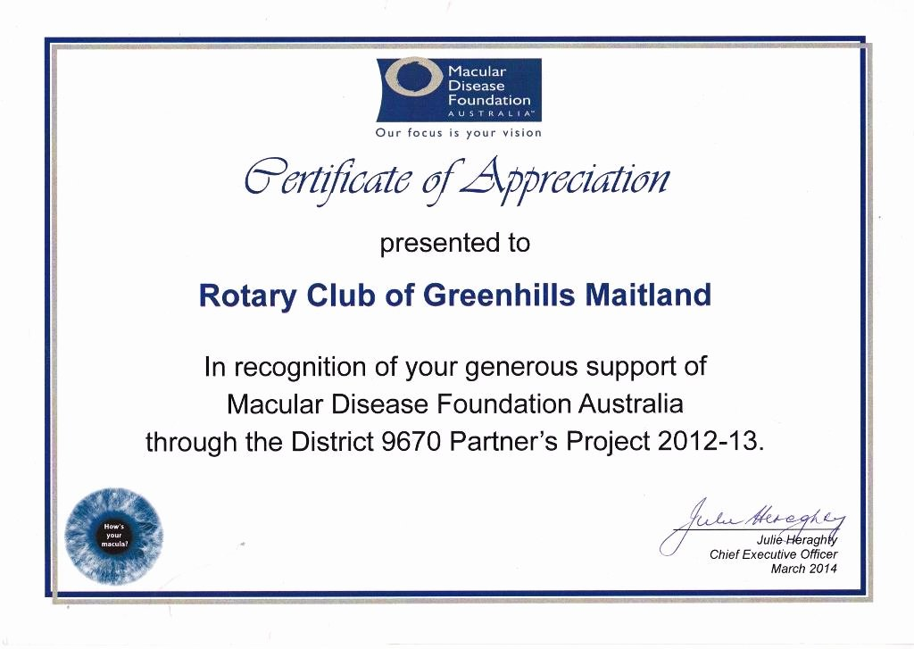 Rotary Certificate Of Appreciation Template Luxury Certificates Of Appreciation